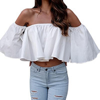 Relipop Women's Off Shoulder Tops Short Sleeve Shirt Strapless Blouses