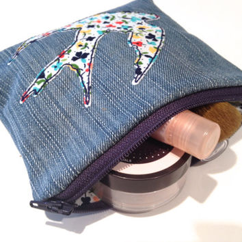 Zippered Sparrow Denim Coin Purse
