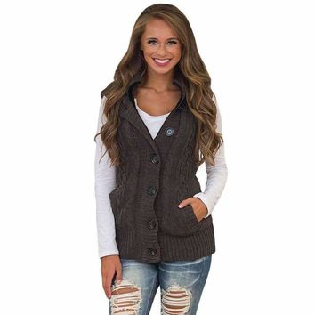 Brown Cable Knit Hooded Sweater Vest