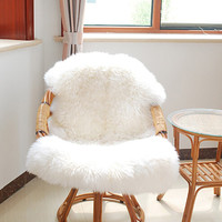 Fashion Soft Sheepskin Chair Cover Warm Hairy Carpet Seat Pad Plain Skin Fur Plain Fluffy Area Rugs Washable Bedroom Faux Mat