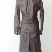 ON SALE, Brown Leather Coat, Long Leather Coat, Women's Leather Coat, Max & Co, Gift For Her