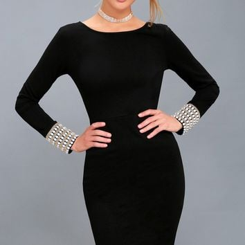 Savoir Vivre Black Pearl Long Sleeve Bodycon Dress