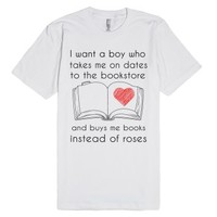A boy who buys me books-Unisex White T-Shirt