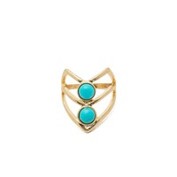 Turquoise Cab Centered Cut-Out Chevron Midi Ring
