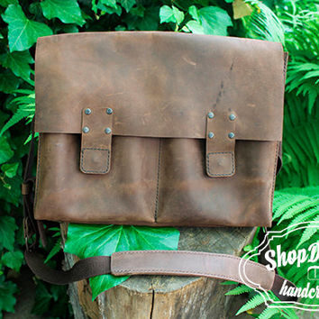 Leather Messenger Bag, Brown leather cross body laptop bag, Hipster Brown Bag, Custom Leather Briefcase