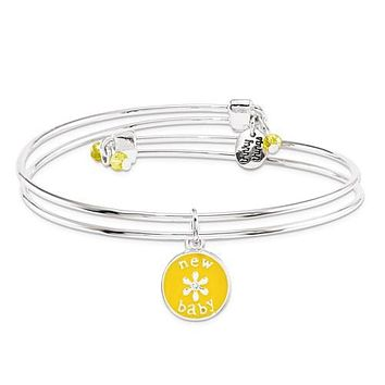 Silver-Tone Trinky Things Yellow New Baby Bracelet/Card