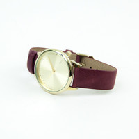 Komono Estelle Classic Watch in Burgundy