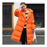 Middle Long Down Coat Woman Casual Coat   orange   S