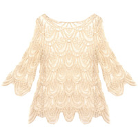 Peacock Feather Crochet Lace Blouse