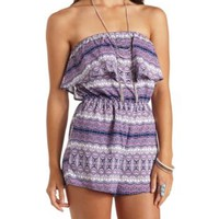 Printed Strapless Ruffle Romper by Charlotte Russe - Navy Combo