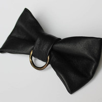 Black Leather Bow Tie Dickie Bow Bowtie OOAK Real Leather Bow Tie Fancy Wedding Bow Tie Unique Groomsmen Bow Tie Man Men Lady BowTie4You