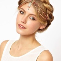 JY Jewelry Metal Head Band Gold Tone Headpiece BOHO Charm Band Hair beads chain headband