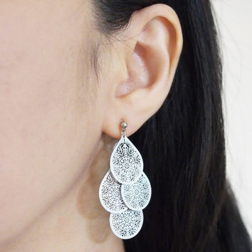 Chandelier Filigree Invisible Clip On Earrings Silver Dangle Boho Clip Earrings Bohemian Earrings Statement Clip Ons Non Pierced Earrings
