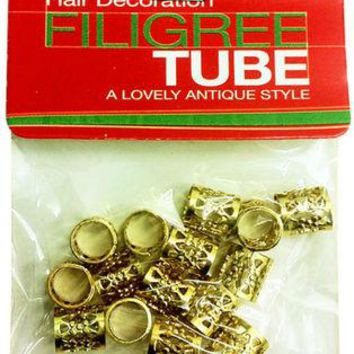 Gold Filigree Tube Hair Decoration Tube