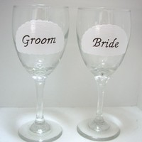 Bride And Groom Wine Glass Handpainted Personalized | Luulla