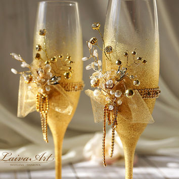Gold Wedding Champagne Flutes Wedding Champagne Glasses White Wedding Decoration