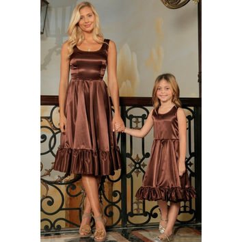 Chocolate Brown Charmeuse Fit & Flare Ruffle Midi Mommy and Me Dress