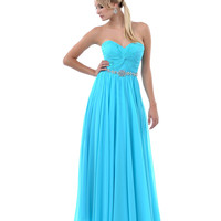 2014 Prom Dresses - Turquoise Gathered Center & Gem Sweetheart Strapless Long Dress