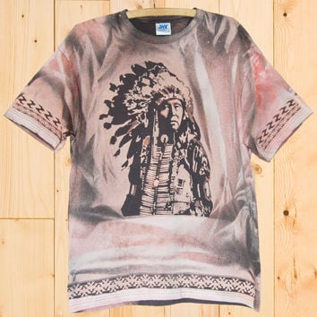 Original Mens Dark Grey/Salmon Pink T-shirt Indian Chief - SOLD/Currently on order