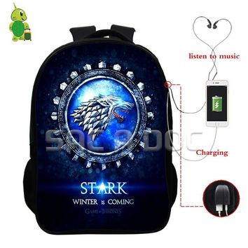 Hot Game of Thrones House Stark Backpack USB Charge Headphone Jack Bags Multifunction College Students School Travel Bags