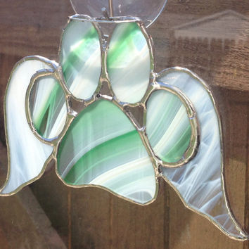 Green/White Stained Glass Paw Print With Angel Wings Suncatcher