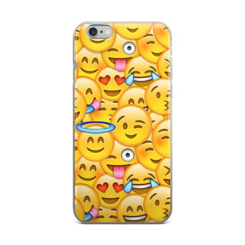 Wink Heart Eyes Crying Laughing Tongue Out Blushing Blowing Kisses Smiley Face Emoji Collage Teen Cute Girly Girls Yellow iPhone 4 4s 5 5s 5C 6 6s 6 Plus 6s Plus 7 & 7 Plus Case