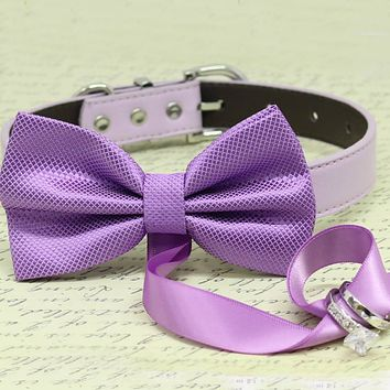 Lavender Dog Bow Tie ring bearer Collar, Pet wedding, proposal, Trendy, Puppy Love