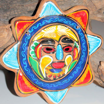 Beautiful Painted Mexican Sun Pottery Tlaquepaque wall hanging