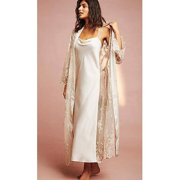 Nightgown - Darling Satin Charmeuse & Sheer Lace (Robe available)(XS-Large)
