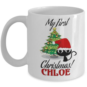 Christmas Personalized X-Mas Kitten Mug - Christmas 2016 Gift - Fun Holiday Personalization Xmas Gift For Cat & Kitty Lovers