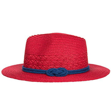 Aerusi Women's [Red] Phase 3 Straw hat with Woven Belt Band