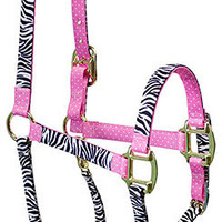 Black Zebra with Pink Polka Accent High Fashion Horse Halter - Made in the USA at RedHauteHorse.com