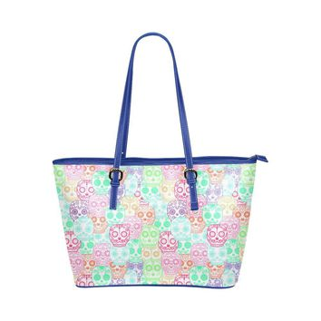 Hip Water Resistant Small Leather Tote Bags Sugar Skull #2 (5 Colors)