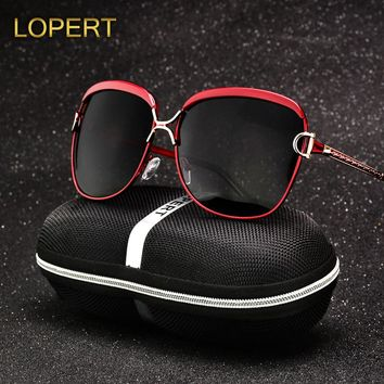 LOPERT Fashion Polarized Sunglasses Women Luxury Brand Glasses Retro Summer HD Polaroid Lens Sun Glasses With UV400