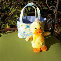 Easter Gift for Kids Mini Tote with Duckie in Blue and Yellow Rose Print