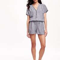 Striped Linen-Blend Romper for Women | Old Navy