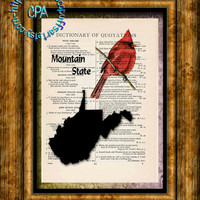 WEST VIRGINIA State Black Silhouette Art, State Bird - Cardinal - Vintage Dictionary Page Art Print Upcycled Page Print - Mountain State