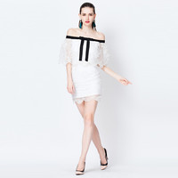 White Off Shoulder Mesh Embroidered Mini Dress With Black Ribbon