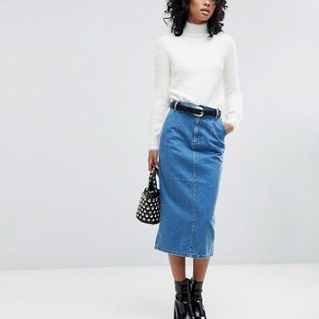 ASOS Denim Midi Skirt in Midwash Blue at asos.com