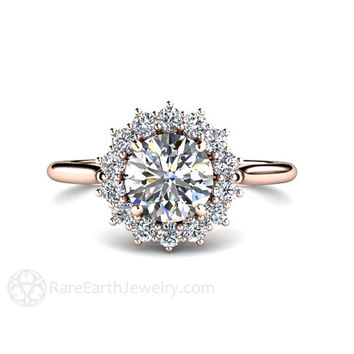 1ct Forever One Moissanite Engagement Ring Conflict Free Diamonds 14K or 18K White Yellow or Rose Gold or Platinum