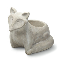 Stone Fox Flower Pot