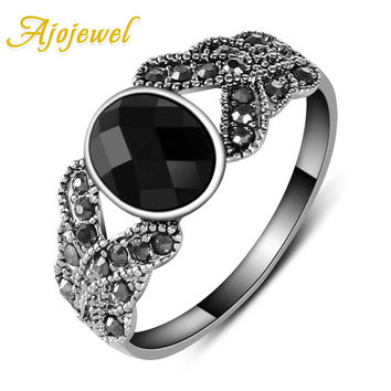 Ajojewel Retro Style Simple Cute White Gold Plated Red/Black Resin Ring For Women