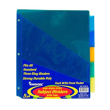 Subject Divider with Tabs - 5 Pack - 48 Units