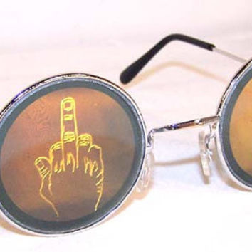 VTG 90s Hologram Middle Finger Round Sunglasses