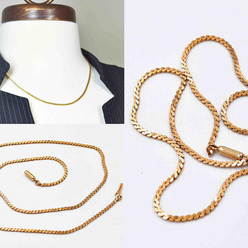 "Vintage Krementz 14K Rolled Gold Chain Necklace, Serpentine Chain, 14K Gold Filled, 18"" Long, S Link Chain, Box Clasp, Lovely! #c303"