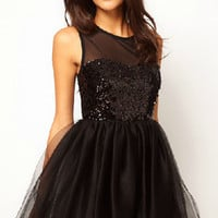 Black Sleeveless Sequined Skater Dress