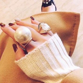 South Korea Europe and America personality simple super large pearl metal exaggerated index finger ring jewelry female ring