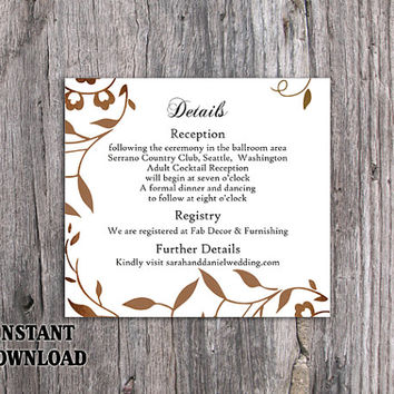 DIY Wedding Details Card Template Editable Word File Download Printable Leaf Details Card Rustic Gold Details Card Elegant Enclosure Card