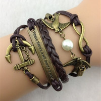 Vintage anchor/peace dove braids bracelet = 1946127812