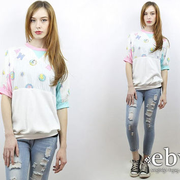 Vintage 80s Pastel Graphic Maternity Top S M Pregnancy Top Maternity Shirt Baby Girl Gift Baby Boy Gift Baby Shower Gift Baby GIft